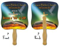 Custom Printed Religious Paper Hand Fans: Church Fans & Stock Photo Jesus, Church, & Bible themed Stick Fans