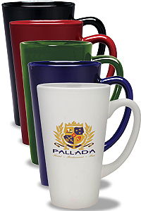 Custom Printed Latte Mugs in Ceramic, Porcelain or Glass. Laser Engraved, Full Color or Screen Printed with Your Logo